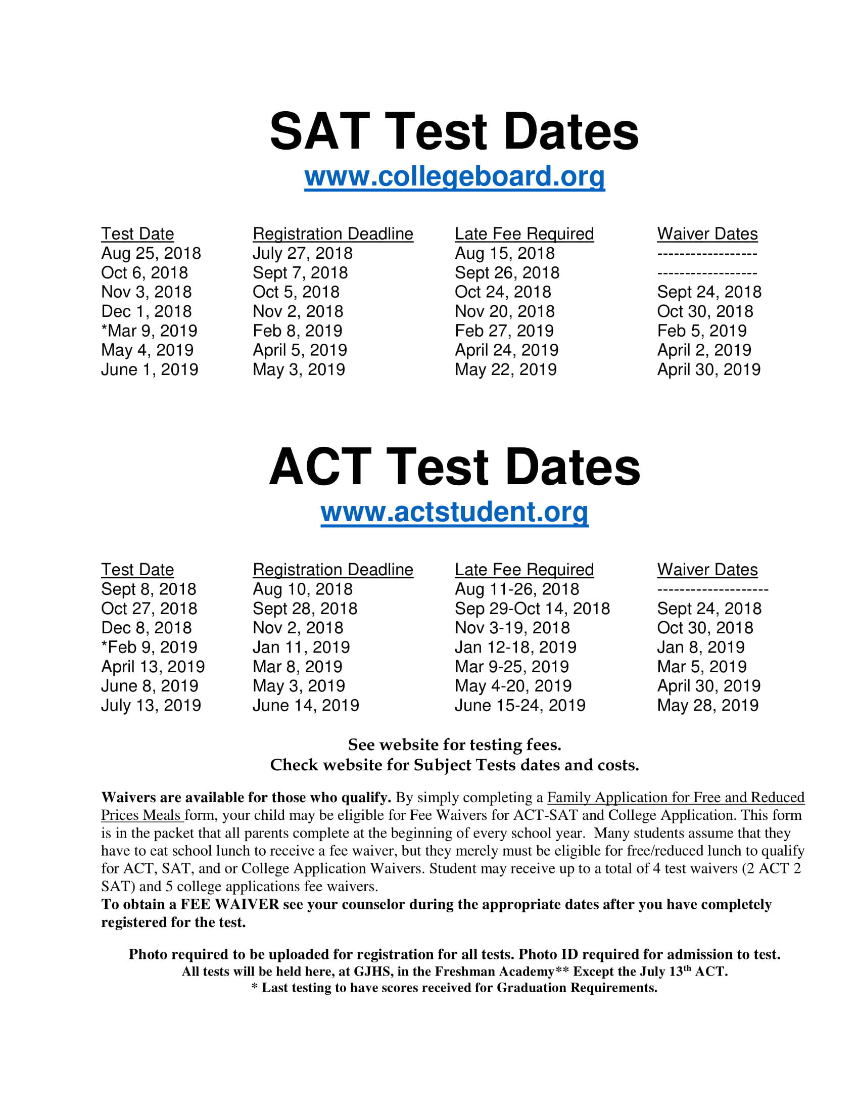 SAT/ACT Test Dates | GJHS