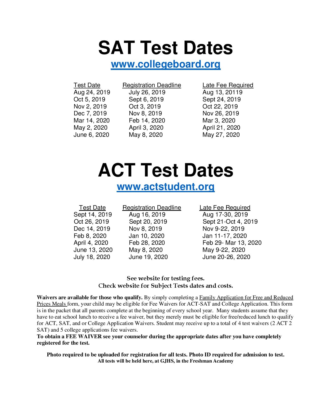 SAT/ACT Test Dates 1