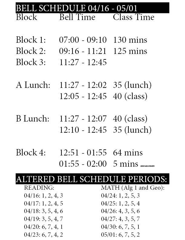altered bell schedule